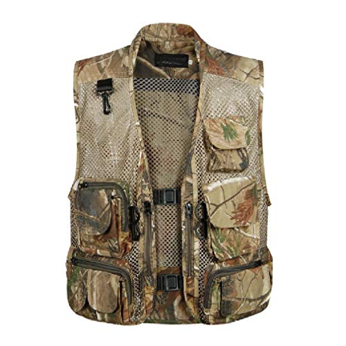 CuteRose Men's Multicamo Multi-Pockets Summer Relaxed Photography Jacket Vest 2 L Tall Classic Peacoat