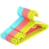 knowing Multi Coloured Plastic Hanger,Adult Plastic Coat Hangers,Plastic Clothes Hanger Windproof Hooks,For Coat,Dress,Skirt,Suit,Trouser,15pcs(5 Blue+ 5 Pink+ 5 Green)