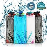 Nasharia 700ML Faltbare Wasserflaschen Set von 4 ━ BPA Frei, Wiederverwendbar Trinkrucksäcke für Wandern,Abenteuer,Reisen,Bergsteigen,Camping usw.