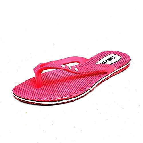Sandali da spiaggia in gomma flessibile donne Flip Flop Fuchsia