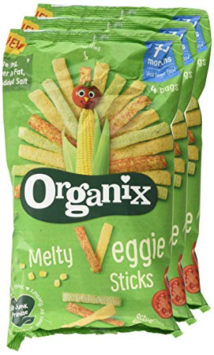 Organix Melty Veggie Sticks Organic Baby Finger Food Snack Multipack 4x15g (Pack of 3, Total 12 Bags)