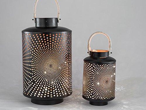 Preisvergleich Produktbild Trendige Laterne schwarz mit Kreisöffnungen, 33 cm