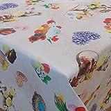 Wachstuch Ostern 3 Bunt· Eckig 140x100 cm · Länge & Breite wählbar· abwaschbare Tischdecke