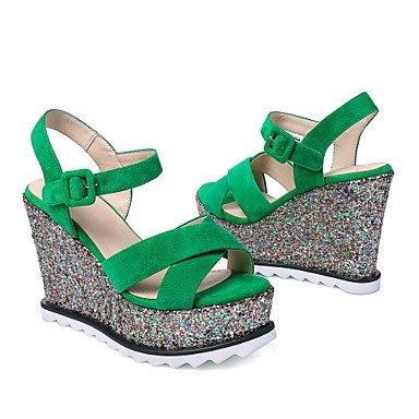 Sommer Schuhe Damen Sandalen Büro Kleid Lässig-Kaschmir-Keilabsatz-Club-Schuhe-Schwarz Grün Green