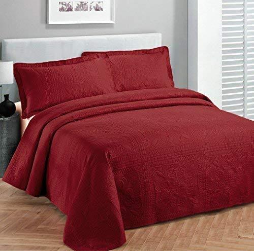 Linen Plus Tagesdecken-Set, extra lang, 2-teilig, einfarbig, Rot (Bettdecken Zwilling-jungen)