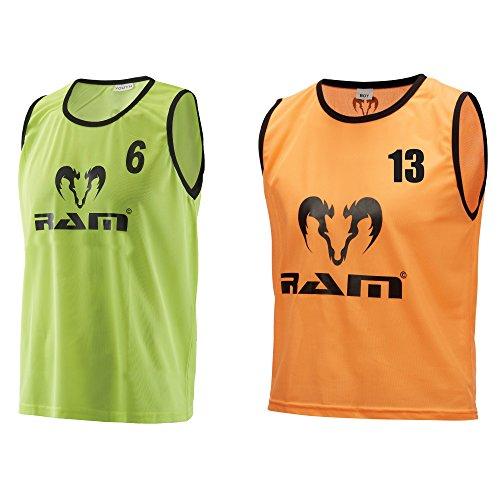Trainingleibchen, Nummeriert 1 bis 15, Markierungshemden, Training Leibchen, Trikot mit Nummer, Nummeriert-shirt (Fluor-Gelb, Senior)