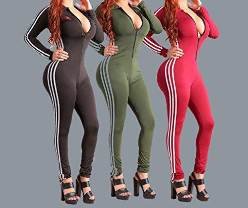 Primavera Autunno Inverno Donna Monopezzi e Tutine Sexy Manica lunga a Righe V Collo Zip Bodycon Intere Jumpsuits Playsuit Rompers Yoga Bodysuits Vino rosso