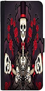 Snoogg Skeletons In Tophats And Roses 2695 Designer Protective Phone Flip Case Cover For Htc Desire 526G Plus