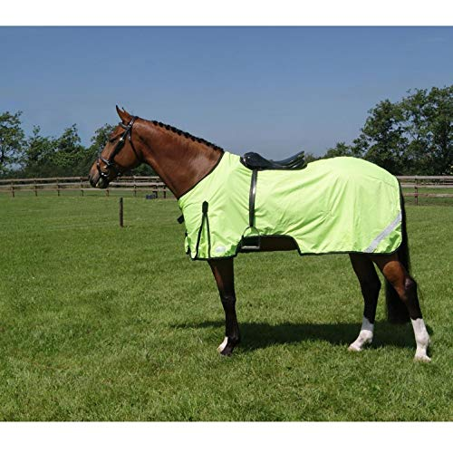 netproshop Sicherheit Pferde Reflex-Ausreitdecke mit Fleece Wasserabweisend Gelb, Groesse:135