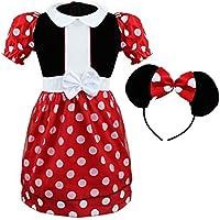 Iiniim per bambina, fantasia a pois, per feste di Halloween con fascia per costumi di carnevale di vestiti