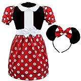 iEFiEL Kinder Mädchen Kostüm Kleid Karneval Kostüm Fasching Partykleid Cosplay Kostüme Kleidung mit Kopfband Rot 92-98