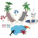 Tatuer Micro Landschaft, Eine Reihe von Mini-Stranddekorationen einschließlich Sonnenschirmen, Miniliegestuhl, Booten usw.(16 PCS)