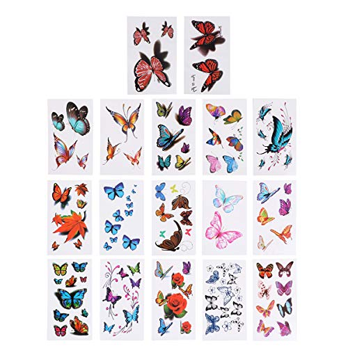 Farfalla tatuaggi temporanei colorati impermeabili body art tatuaggi adesivi per vacanza party, 16 fogli