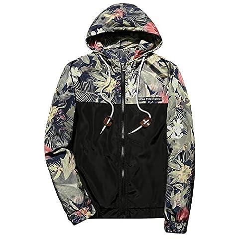 WALK-LEADER Mens Floral Printed Light Weight Zip Hooded Hoodie Jackets Windbreaker Coat Outwear Black