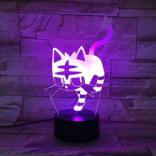 wangZJ Touch Lampada da tavolo / 7 colori di ricambio/Lampada da tavolo 3d / Luce notturna a led/Decorazione/Regalo per bambini/Regalo di Halloween di Natale/Gatto