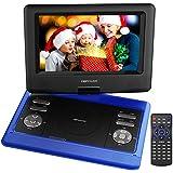DBPOWER 10.5'' Tragbarer DVD-Player, 4 Stunden Akku, schwenkbaren Bildschirm, unterstützt SD-Karte und USB, mit Spiele-Joystick, Auto-Ladegerät--Blau
