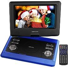"""Reproductor de DVD Portátil de 10.5"""" con Pantalla Giratoria, 4 Horas recargable incorporada de la batería, Compatible con Tarjetas SD y USB, con el cargador del coche y dispositivo de juego - Azul"""