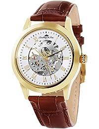 Lindberg & Sons CHP198 - Reloj análogico para hombre de pulsera (esqueleto automático), correa de cuero café/marrón