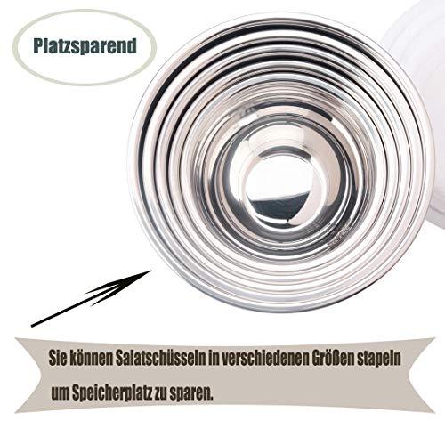 Hawonder Edelstahl Schüsselset mit Deckel aus 6 Stück, Europäische Rührschüssel, Hochpolierte Technik, Maximale Kapazität 3L / 2.5L / 2L / 1.5L / 1L / 0.8L, Kann in die