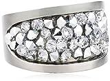 S. Oliver Damen-Ring Edelstahl Kristall weiß Gr. 52 (16.6) - 440325
