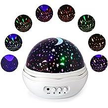 Qedertek Proyector del Cielo de la Estrella Lámpara Nocturna para Niños Regalos de la Navidad (Blanco)
