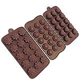 3-teiliger Satz Gussformen für Schokolade, Pralinen, Teig, Götterspeise, Eiswürfel, Bonbons, Kerzen, und Seife
