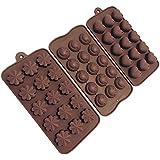 3 moldes de silicona para chocolate, bombones, masa, cubitos de hielo, velas y jabon