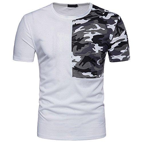 ops Lässige Tarnen Patchwork O Hals Pullover T-Shirt Top Bluse ()