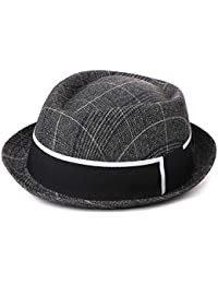 d070af7f538cb0 Trendy Glen Plaid Trilby Hats Homburg Gangsta Fedora Manhattan Derby Hat  for Men Lightweight Cloth (