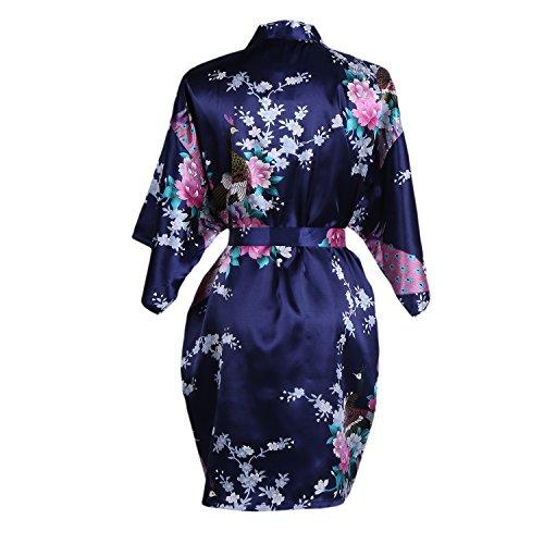 Elite99 Women's Sexy Robes Peacock and Blossoms Kimono Satin Nightwear Mini Dress (L, Dark blue)