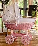 ComfortBaby ® HOME XXL Baby Stubenwagen - komplette 'all inclusive' Ausstattung - Zertifiziert & Sicher (Rosa – Weiss)