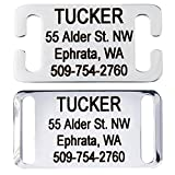 GoTags Slide-On Pet ID Tags. Personalised Dog & Cat Tags. Silent, No Noise Collar Tags made of Stainless Steel. Custom Engraved. (Open for Snap Closure Collars)