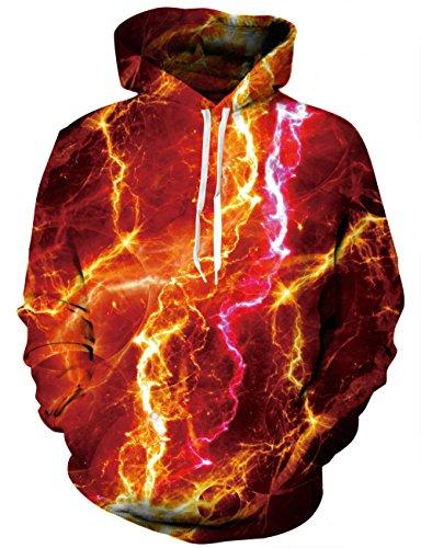 LAIDIPAS Unisex 3D bedrucktes Kapuzenpulli Casual Pullover Hoodie mit großen Taschen M (Hurley-t-shirt Shorts)