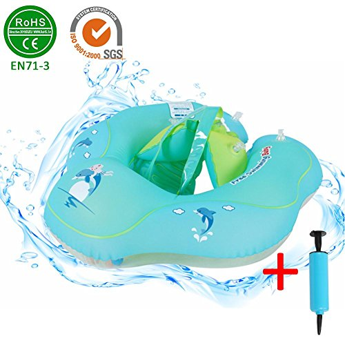 Infant Underarm Inflatable Pool Float with Backrest Strap Baby Waist Inflatable Circle Float Swimming Pool Toys for 2 to 6 Years Old Swimming Floaties Swim Ring Children Seat Float With Inflator Plump (Float Inflator)