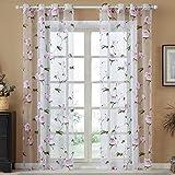 Top Finel Purple Flower Window Voile Net Curtain Panels 54-inch Width X 84-inch Length,Grommets,Single panel