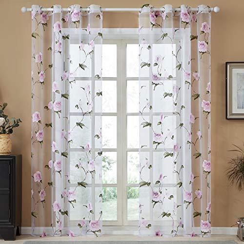 Top finel flowers voile tende trasparenti per case poliestere stampato tenda con occhielli,300 x 250 cm, 1 pezzo, fiore viola