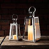 2er Set silberne Edelstahl Laternen mit LED Kerzen Timer Lights4fun