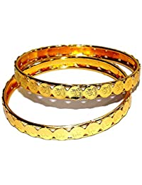 Jewels Kafe Golden Bangles Set Of 2 For Women Size 2.8
