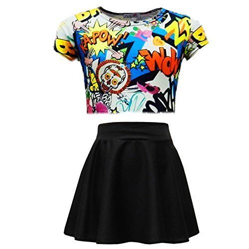 (A2Z 4 Kinder® Kinder Mädchen Comic Graffiti Scribble Leopard #SELFIE #No Filter #Love NYC Paris Neu York 76 Epic OMG Aufdruck ed Mode Crop Top & Stilvoll Schwarz Skater Rock Satz 7-13 Jahre)