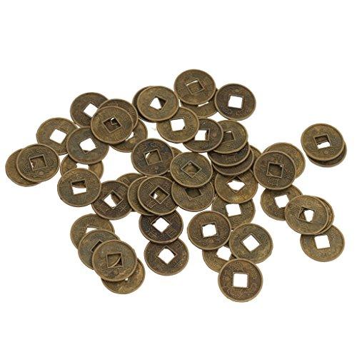 sharprepublic 50er Chinesisch Glücksmünzen China Glücksbringer Glü Münze Feng Shui Coins (Altes Geld Und Münzen)