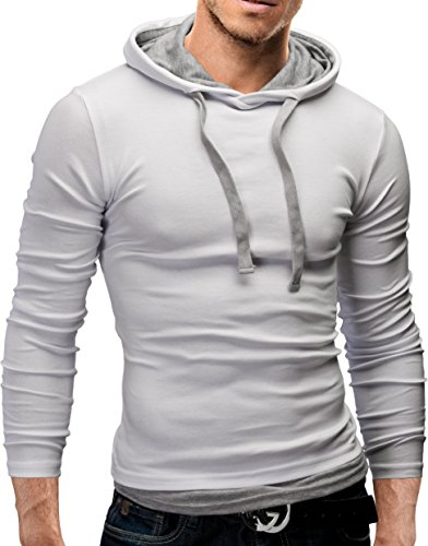 MERISH Hoodie Herren Slim Fit Langarm Shirt Modell 06 Weiß