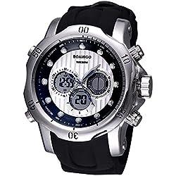 BOAMIGO Luminous Alarm Week 50M Waterproof Quartz Digital Mens Watch (Silver White)