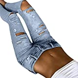 Vectry Jeans Damen Slim Fit Skinny Fit Jeans Destroyed Herbst Jogger Push Up Ankle Straight Leg Mit LöChern Stretch Denim Relaxed Fit Aufnäher Hosen, Lässige gerippte Lange mittlere Taille (S, Blau)