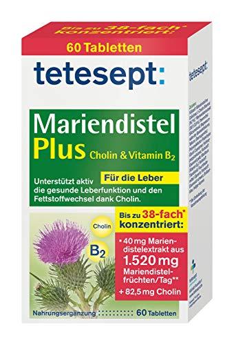 tetesept Mariendistel Plus Cholin & Vitamin B2 - Nahrungsergänzungsmittel zur aktiven Unterstützung einer gesunden Leberfunktion und des Fettstoffwechsels dank Cholin- 1 x 60 Tabletten
