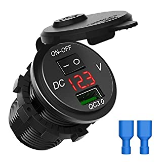 CHGeek USB Car Charger, Waterproof Quick Charge 3.0 USB Charger Socket Power Outlet Adapter with On Off Switch LED Digital Play for 12V/24V Car RV ATV Boat Marine Motorcycle Mobile