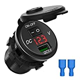 CHGeek USB Auto Ladegerät, wasserfest Schnelles Aufladen 3.0 USB Ladegerät Sockel Steckdose, Adapter mit ON Off Schalter LED Digital Play für 12 V/24 V Auto RV ATV Boot Marine Motorrad Mobile