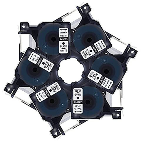Markurlife 6x Etikettierbänder Kompatibel mit Dymo D1 45013 S0720530 Schriftbänder Etikettenband Schwarz auf Weiß 12mm Breit und 7m Lang Beschriftungsbänder Schriftbandkassette für DYMO LabelManager 100 120P 150 160 200 210D 220P 260P 280 300 350 350D 360D 400 420P 450 450D 500TS PC PC II PnP DYMO LabelPoint 100 150 200 250 300 350 DYMO LabelWriter 400 Duo 450 DUO