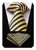 Hisdern Herren Krawatte Gestreifte Hochzeit Krawatte & Einstecktuch Set Gelb und Marineblau
