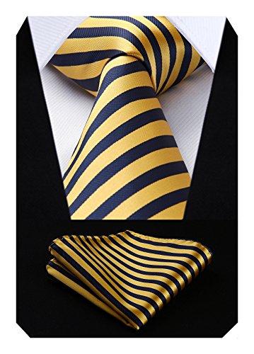 Hisdern Extra Lungo Pois Cravatta Fazzoletto Uomini Cravatta & Fazzoletto Giallo/blu navy