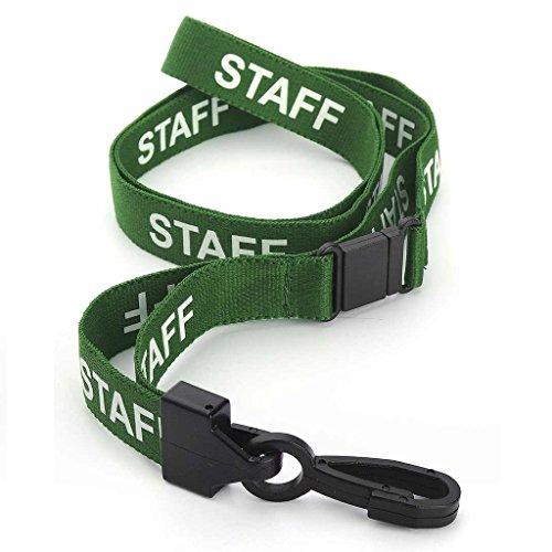 CKB Ltd® 10x Green STAFF LANYARDS Breakaway Safety Band Halsband Plastik-Clip For ID Card Ausweiskartenhalter Schlüsselband mit Sicherheitsverschluss Schlauchband Holder Für Veranstaltungen Events Ausweise Messen Namensschilder